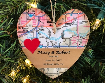 Personalized Wedding Ornament, Unique Wedding Map Ornament, Newlywed Christmas Ornament, First Christmas Ornament Married, Newly Wed Gifts