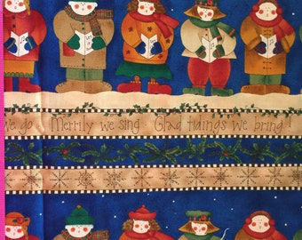 SALE kP Kids & Co by Kari Pearson for SSI Primative Christmas Carolers Fabric BTY