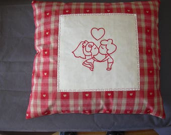 Valentine's day and Valentine pillow cover, redwork embroidery, red and ecru fabric