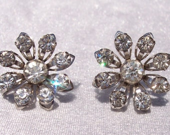 Rhinestone Earrings, Bugbee and Nile's, Silver Tone, Hallmarked, Designer, Vintage, Fashion, Glamorous, Floral, Screw Back, Adjustable,