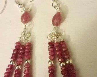 Sterling silver earrings rubies