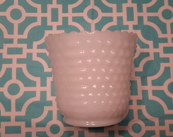 """4.25"""" tall white milk glass traditional hobnail design planter that is 5"""" across"""