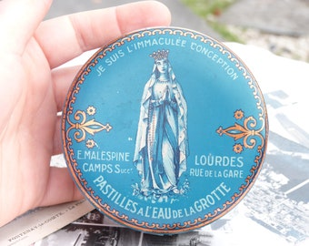 Ancient French Metal Box - Lozenges with Lourdes Cave Water - E. Malespine - Religious Box - Virgin Mary - Collecible - Made In France