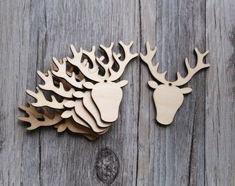 Blank Wood Christmas ornament reindeer,unfinished wooden ornament decorations,DIY Crafting Wooden stag head,deer gift tags,