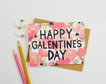 Happy Galentine's Day, BFF, February 13, Girl stuff, Best Friend, Heart, Pink, Girl's Night, Chocolate, Wine, hand lettered, gouache floral