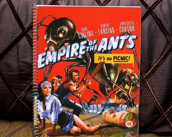 """Composition Notepad: """"Empire of the Ants"""" Spiral Notebook, 150 page college ruled, Campy Cult Film Art Books, Monster movie10.5x8"""" pages"""