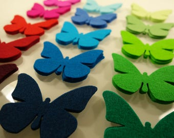 "Wool Felt Butterfly, 100% Merino Wool, 1.9"" x 1.9"", pure wool felt, die cut butterflies, choose your own colors and quantity"