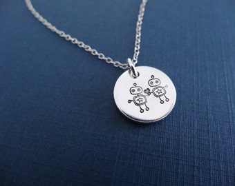 Robots Necklace - Hand stamped Geeky Necklace - Small Heart Pendant
