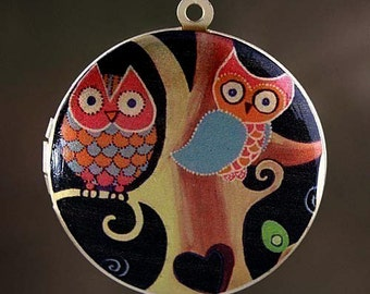 Photo Locket, Image Locket, Art Locket, Picture Locket, Brass Locket  - Midnight Owls
