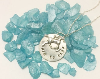 Born to Ride hand stamped horse necklace