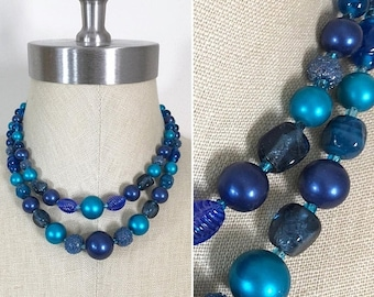 30% Off Sale 60s Vintage Cobalt Blue Teal Pearl Plastic Bead Double Strand Choker Necklace, Made in Japan