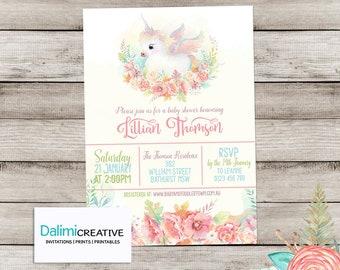 Baby Shower Invitation - Unicorn Shower Invitation - Floral Shower Invitation - Printable Invitation - Personalised - Digital File!