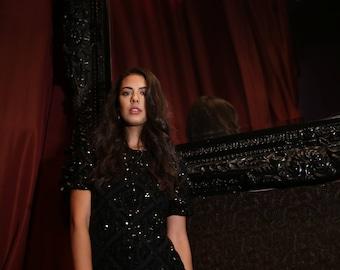 80s Sequin Black Dress Small Medium Womens