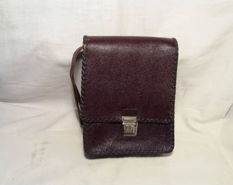 Vintage 1980's Handmade  Bordeaux Leather Men's Handbag - NEW