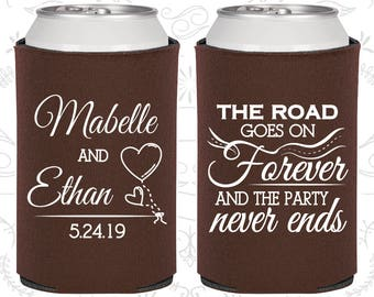 Brown Wedding, Brown Can Coolers, Brown Wedding Favors, Brown Wedding Gift, Blue Party Gift (479)