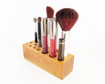 Cherry Wood Makeup Brush Organizer