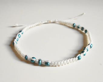 White anklet women, beach anklet, surf ankle bracelet, waterproof anklet, beach wedding anklet, summer anklet, beaded anklet, foot jewelry