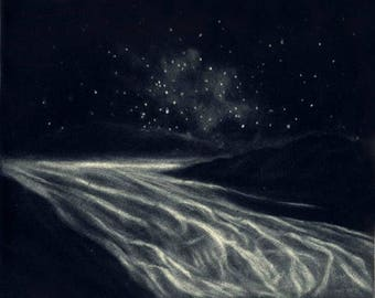 Look for the Glacier at Night - Original Mezzotint