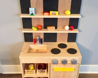 Handmade, Wood, Custom Kid Kitchen with Wood Food