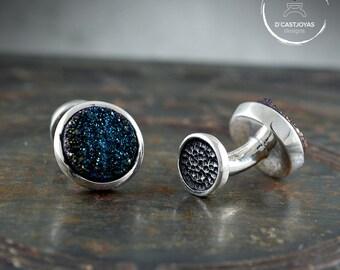 Blue Druzy Cufflinks, Silver cufflinks with druzy, blue druzy, Handcrafted cufflinks, wedding cufflinks, Contemporary cufflinks for men