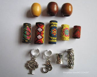 12Pcs/Lot mix wooden metal fabirc hair braid dread dreadlock beads clips cuff