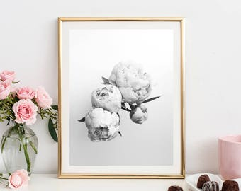 peony print, black and white peony wall art, scandinavian print, grey home decor, printable art, downloadable prints, instant download