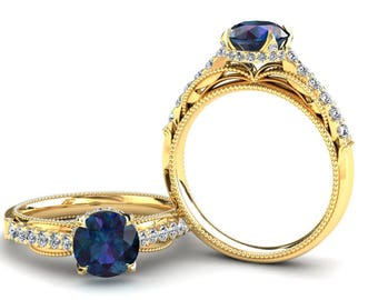 Alexandrite Yellow Gold Ring 1.50 Carat Color Change Alexandrite Ring Set With Natural Diamonds In 14k or 18k Yellow Gold SJW2ALEXY