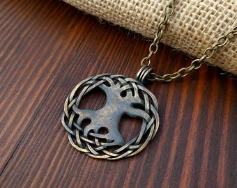 Yggdrasil Viking World Tree, Tree of Life Pendant Necklace Jewelry Comes With Chain