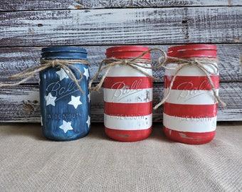 American Flag Mason Jar, American Flag Decor, Red White and Blue, Mason Jar Decor, Painted Mason Jars, American Flag Decor, America, Flag
