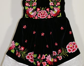 Free Shipping! Tehuanita dress: Mexican girls dress, beautiful hand-woven flowers in velvet. Party dress, made in Mexico