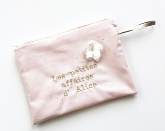 Personalized, embroidered cotton pouch.