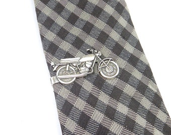 Motorcycle Tie Bar, Motorcycle Tie Clip, Sterling Silver Ox Finish or Antiqued Brass, Gifts For Men