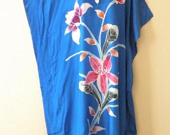 Jewel Lake Batik Dolman Batwing Sheen Caftan Kaftan Tunic Hippy Maxi Dress - 1X, 2X, 3X & 4X