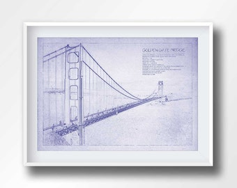 Empire state building blueprint empire state poster american golden gate blueprint golden gate poster golden gate shematics san francisco wall art malvernweather Gallery