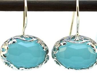 Silver Light Blue Earrings