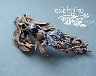 Real flower jewelry Siberian forest Scotland thistle Flower brooch Copper shawl pin blue flower electroforming jewelry Brave heart brooch