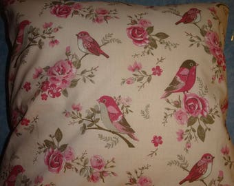 """Birds pink"" pillow cover"