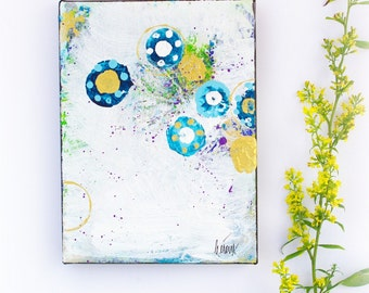 Small artworks, blue and gold abstract art, Decor, Original on canvas, Gift ideas for her, collectibles for home, by Heroux 6x9 inch