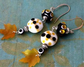 Yellow, Orange, Black, and White Polka Dot Lampwork Earrings, Leaf Drop NE180