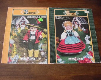 "1988 Crochet Pattern Booklets, Fibre Craft Hansel and Gretal Outfits, Fits 13"" Dolls"