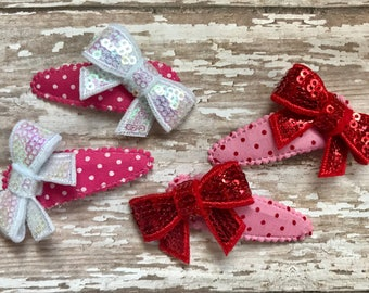 Adorable Valentines Day- Bow clips set of 2- Sequin Bow Clips (Toddler, Children's, Girl, Woman)