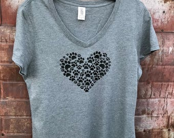 Paw Heart T-shirt, dog lover t shirt