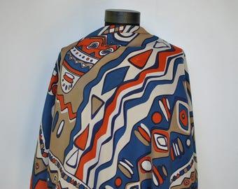 Vintage PRINTED SILK SCARF , hand rolled silk scarf..........(333)