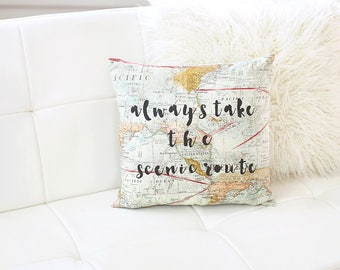 Always Take The Scenic Route World Map Pillow Map Decor World Map Cushion Travel Quote Gift Throw Pillow Map Pillow Cover Adventure Awaits