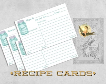 Printed Personalized Recipe Cards Mason Jar, Vintage Farmhouse Kitchen - Custom Recipe Card 4x6,  5x7 - Kitchen Bridal Shower, Gift for Cook