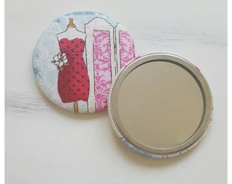 SALE, Fabric covered hand mirror