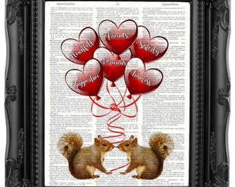 Best Friend Gift Best friend Birthday Gift Coworker gift Sister-in-law gift Bridesmaid Gift maid of honor gift Squirrel print Friendship 192