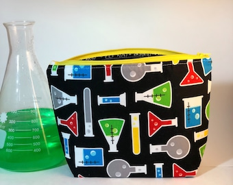 Graduation Gift Cosmetic Bag Scientist Chemistry - Zippered Bag - Chemistry Teacher Gift - Fathers Day Gift