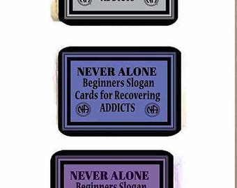 NEVER ALONE (NA) Beginners 90-Card Deck 12-Step Recovery Slogans for Addicts Narcotics Anonymous