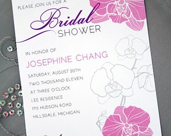 Orchid Invitation, Bridal shower Invitation, Engagement Party, Birthday Party Invitation, Floral, Printed Invitation or DIY Printable